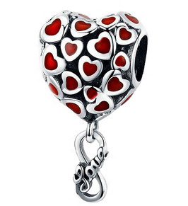 """Charm Pendant Mes Coeurs Rouge """"Excp"""""""