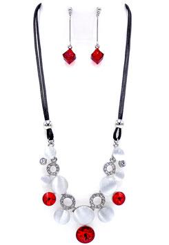 Parure Cristal & Opale Color Rouge