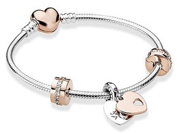 Bracelet Charm's La Miss d'Or Rose 19cm