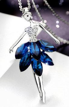 Sautoir Féerie - Night Blue Cristal  - Or Blanc