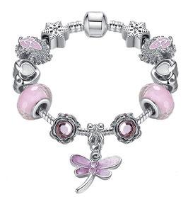 Bracelet Charm'S  Pink Libellule - Argent Plaqué