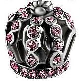 Charm Couronne de Cristal Rose