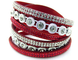 Bracelet Femme Multi-Rangs Red Fire