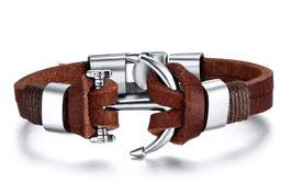 Bracelet Ancre Cuir Corsaire Brown