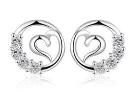 Boucles d'Oreilles Love Diamant - Argent