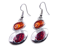 Boucles d'Oreilles Fantaisie Crazy Circle Red