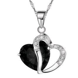 Collier Femme Dual Love Black - Argent