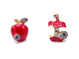 Boucles d'Oreilles Adam-Eve Pomme Rouge