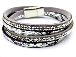 Bracelet Femme Croco Argent Multi-Rangs