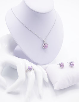 Parure Luxury Violine & Rose - Perle de Culture