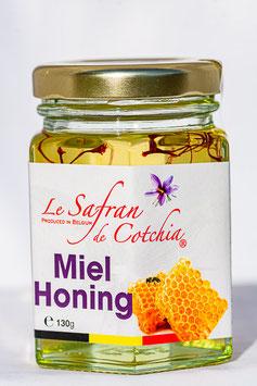 Miel d'acacia safrané en 45 gr et 130 gr