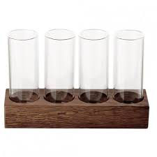 SET 4 BORO SCH.S + WALNUT TRAY , 16x5 cm , 65x4 ml ,1 pz.