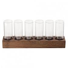 SET 6 BORO SCH.S + WALNUT TRAY , 24x4.5x3 cm , 65x6 ml , scatola da 1 pz.