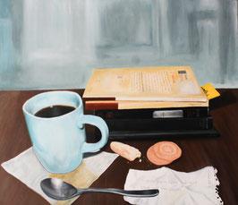 Libros y café. Óleo7 tela. Oil on canvas