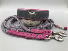 Lederhalsband Grau/Pink mit passender Tau-Leine *SALE*