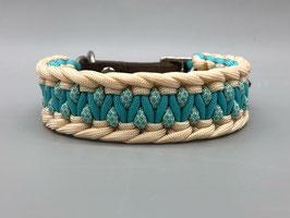 Halsband Türkis/Cream für kleine Hunde *SALE*