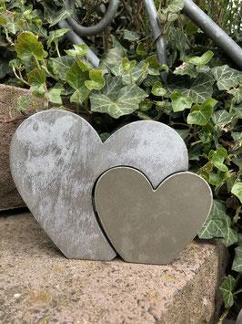 Herz-in-Herz -silber gewischt-