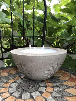 Outdoorkerze -Blumengravur-