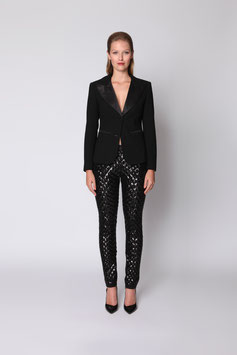 SEQUIN TROUSERS WITH SATIN WAISTBAND AND ANKLES SIZE 40