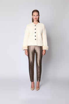 HAND-KNITTED JACKET IN IVORY CASHMERE WITH MINK CUFFS SIZE L