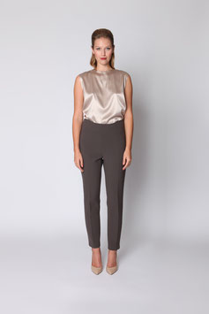 DOUBLE-FACE STRETCH TROUSERS WITH CURVED WAISTBAND SIZE 38