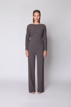 GREY GEORGETTE JUMPSUIT WITH SWAROVSKI CRYSTAL BUTTONS SIZE 44