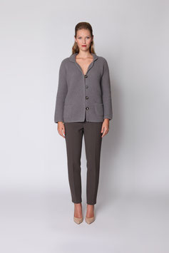 HAND-KNITTED JACKET IN STONE GREY CASHMERE SIZE L