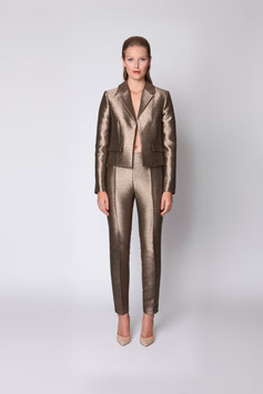 GOLD METALLIC TROUSERS WITH CURVED WAISTBAND SIZE 36