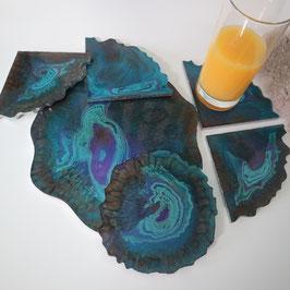 Resin Untersetzer (Set) der blaue Pfau