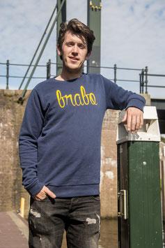 Brabo trui donkerblauw met gele letters