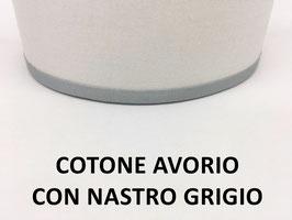 APPLIQUE LUNA COTONE AVORIO CON NASTRO GRIGIO