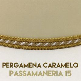 VENTOLA SAGOMATA PERGAMENA CARAMELO CON PASSAMANERIA 15