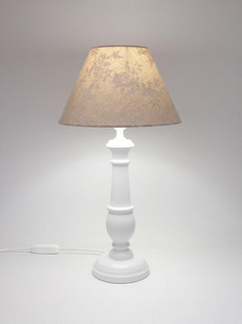 Abat-Jour comodino h.40 cm Chic in legno bianco con paralume Fantasia