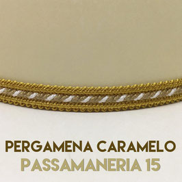VENTOLA ANTIQUARIO PERGAMENA CARAMELO CON PASSAMANERIA 15