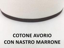 APPLIQUE LUNA COTONE AVORIO CON NASTRO MARRONE