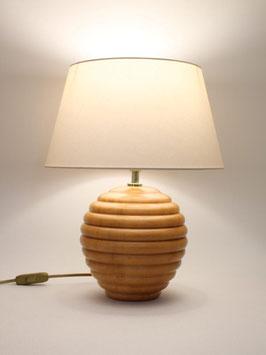 Abat-Jour h.38 cm Sfera in legno Naturale con paralume Smart Avorio