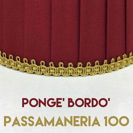 IMPERO PLISSE' PONGE' BORDO' CON PASSAMANERIA 100