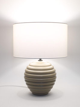 Abat-Jour h.39 cm Sfera in legno laccato tortora con paralume Cilindro Bianco