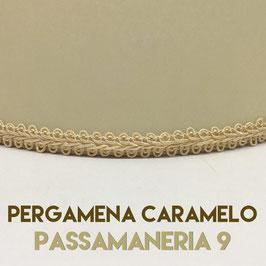 VENTOLA ANTIQUARIO PERGAMENA CARAMELO CON PASSAMANERIA 9