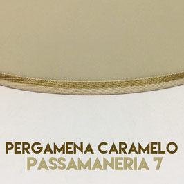 VENTOLA ANTIQUARIO PERGAMENA CARAMELO CON PASSAMANERIA 7