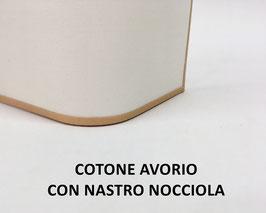APPLIQUE RETTANGOLO COTONE AVORIO CON NASTRO NOCCIOLA