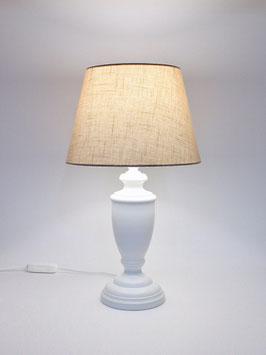 Abat-Jour comodino h.38 cm Ginevra in legno laccato bianco con paralume Impero Lino Sabbia