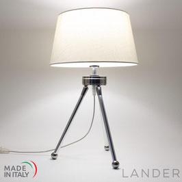 Lampada Treppiede h.41 cm LANDER con Paralume in Lino Bianco