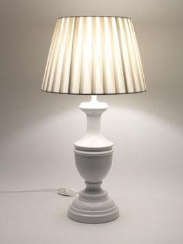 Abat-Jour Laura da Comodino h.45 cm in legno bianco con paralume Plissettato