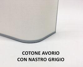 APPLIQUE RETTANGOLO COTONE AVORIO CON NASTRO GRIGIO