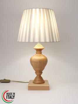 Abat-Jour comodino h.40 cm ASIA in legno naturale con Impero Plissè Pongè