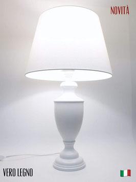 Abat-Jour h.60 cm Ginevra in legno laccato bianco con paralume Impero Bianco