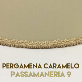 VENTOLA SAGOMATA PERGAMENA CARAMELO CON PASSAMANERIA 9