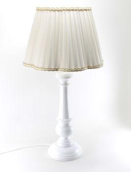 Abat-Jour da Tavolo h.55 cm Bacio legno bianco con paralume Margherita Plissè