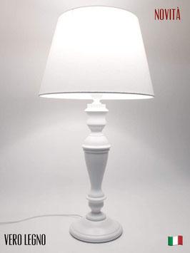 Abat-Jour da Tavolo h.57 cm Simona in legno laccato bianco con paralume Impero Cotone Bianco